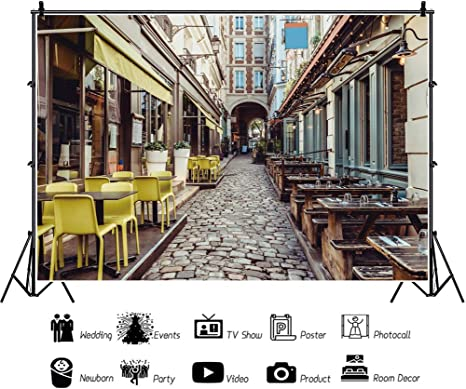 YEELE 10x8ft City Alley Backdrop Ancient Street in Rome Lined with Leafy Vines and Cafe Tables Photography Background Wedding Portrait City Landscape YouTube Channel Photo Booth Digital Wallpaper