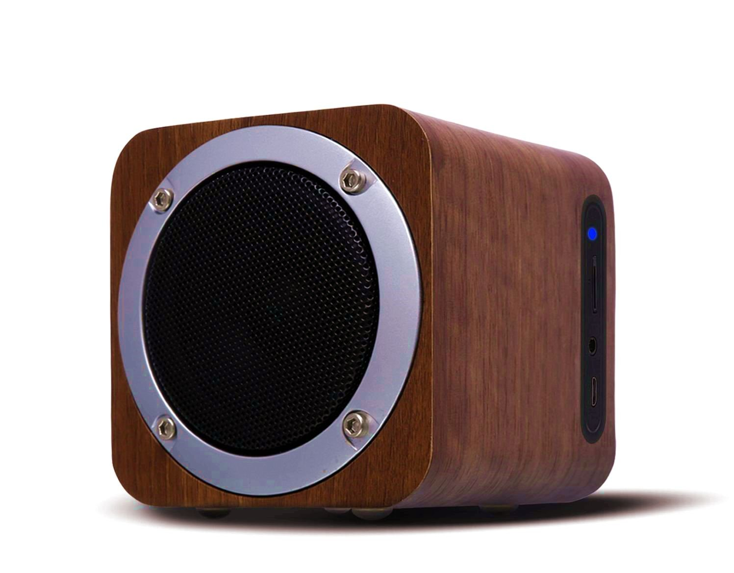 OHHAI Bluetooth Speaker with Subwoofer, 10h Playtime,Wooden Speakers for Party(Walnut)
