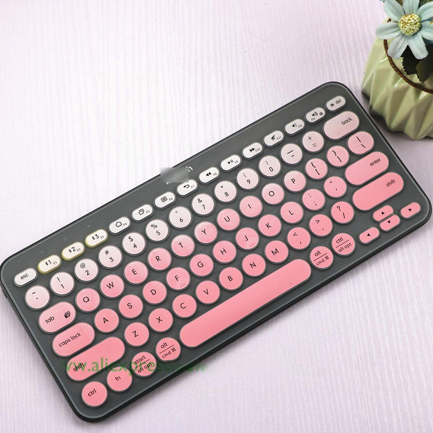 All-Equal Soft Keyboard Cover Film for Logitech K380 K 380 Bluetooth Keyboard Multi Device Mechanical Skin Protector-Silver