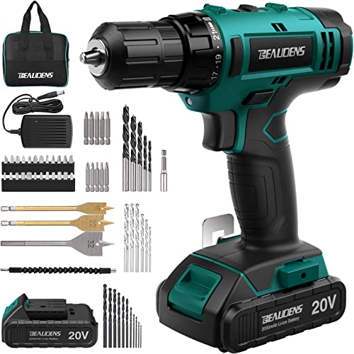 BEAUDENS 20V Cordless Drill Driver Kit, 2000mAh Lithium-ion Battery, 61-Piece Accessories, 21 1 Torque Setting and Variable Speed, 3 8 inches Keyless Chuck for Home DIY Project Drilling Walls, Brick