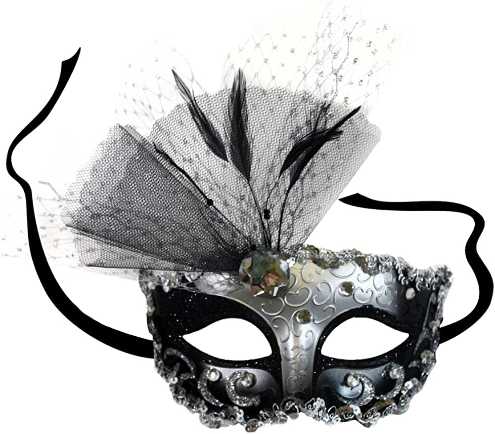 New Masquerade Mask  Silver and Black Sequin Domino Women Nacre Mother-of-pearl Sun /& Moon Venetian Mask