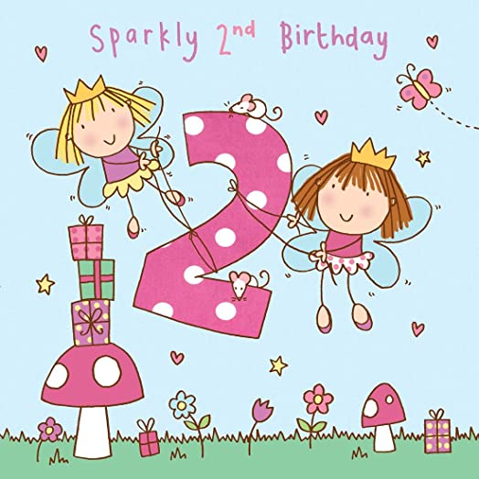 Twizler 2nd Birthday Card for Girl with Fairy Princess and Glitter – Birthday Cards for Girl