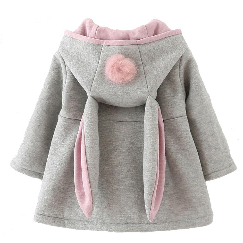 Baby Girl's Toddler Fall Winter Coat Jacket Outerwear Ears Hoodie(8,Grey)