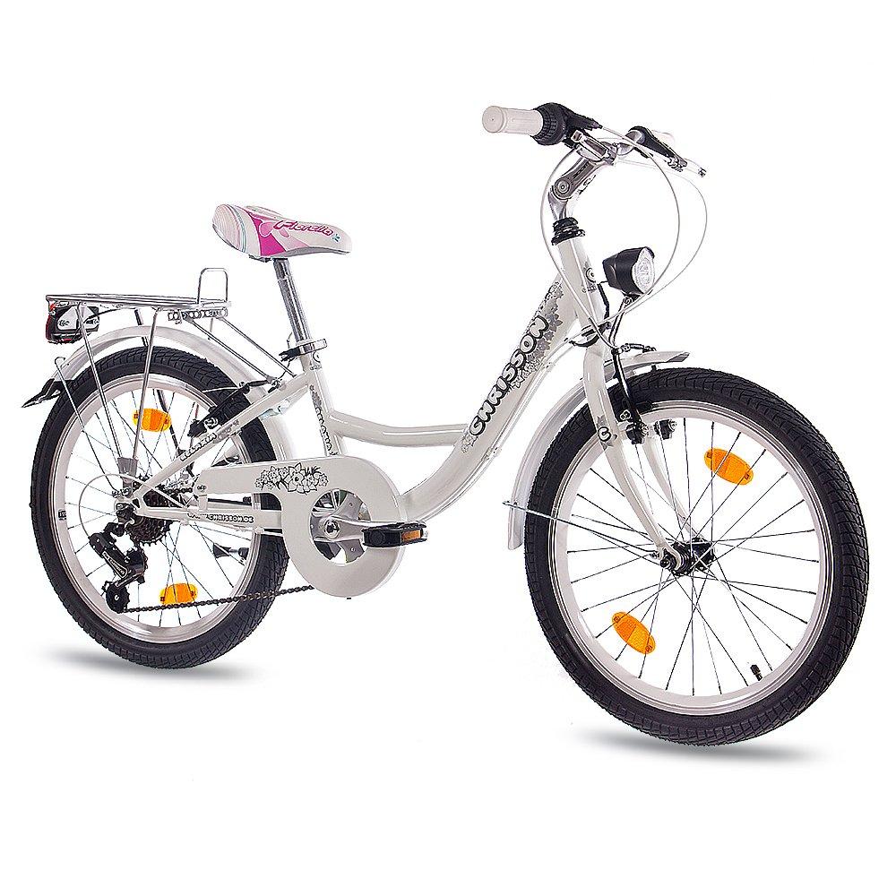 50,8 cm pulgadas CITY BIKE ruedas de bicicleta para niñas CHRISSON RELAXIA 2,0 con 6 velocidades de SHIMANO para bicicleta blanco