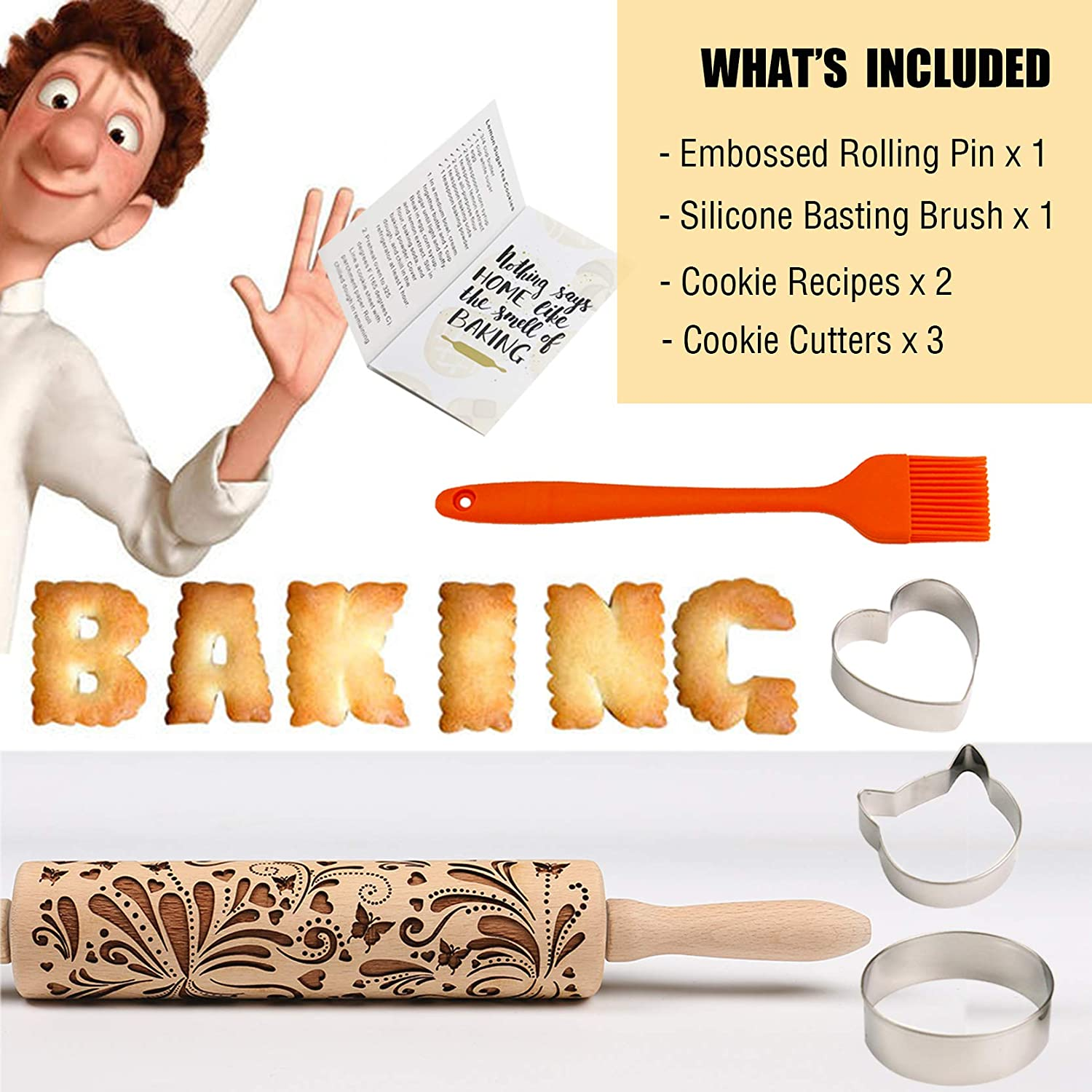 Rolling pin engraved MUFFIN laser engraved rolling pin embossing rolling pin ICE-CREAM rolling pin