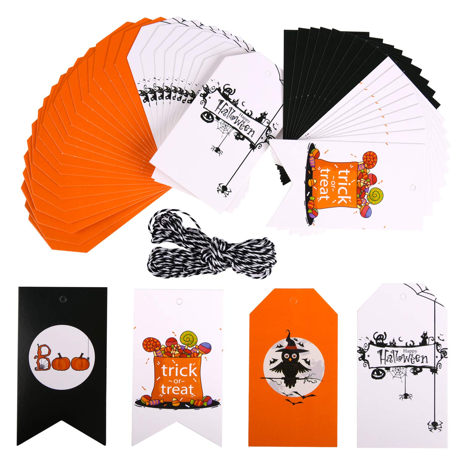 Halloween Gift Tags.50 Pieces Halloween Gift Tags Craft Tags Gorgeous Cards With 33 Feet Strings For Halloween Gift Wrap