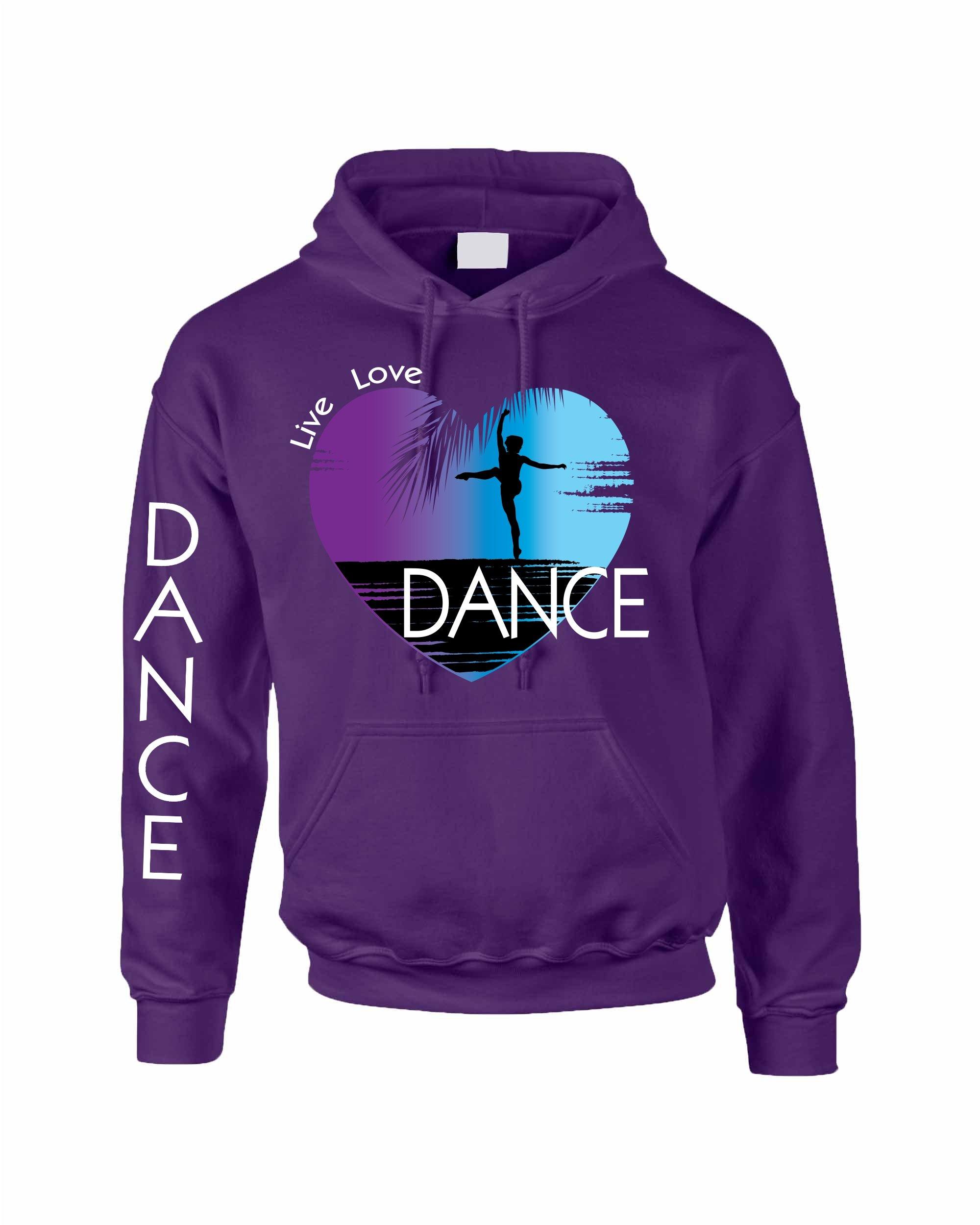 Allntrends Adult Hoodie Dance Art Purple Print Love Cute Top Nice Gift (L, Purple)