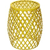 Joveco Metal/Iron Strip Stool/End Table/Side Table with Rhombus Pattern -Yellow