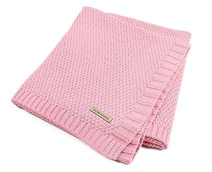 Hi8 Store de punto patrones bebé cochecito manta para cama infantil, 100 x 80 cm