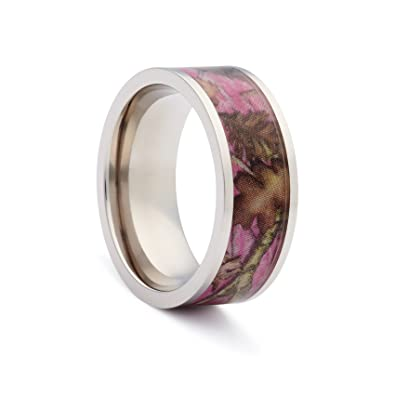 1 camo flat titanium pink rings camouflage engagement wedding ring pink camo bands - Flat Wedding Rings