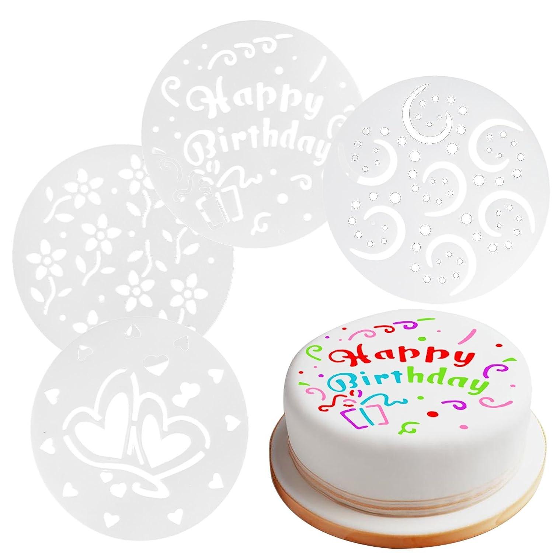 Peachy 15Cm Reusable Cake Decorating Stencils Set Of 4 Home Baking Personalised Birthday Cards Vishlily Jamesorg