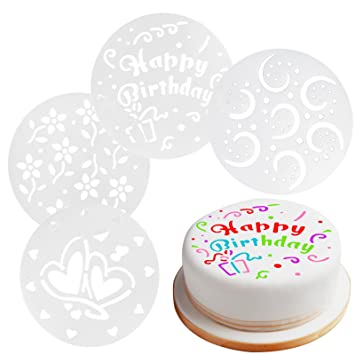 15cm Reusable Cake Decorating Stencils Set Of 4 Home Baking Professional Finish Happy Birthday Hearts Flowers