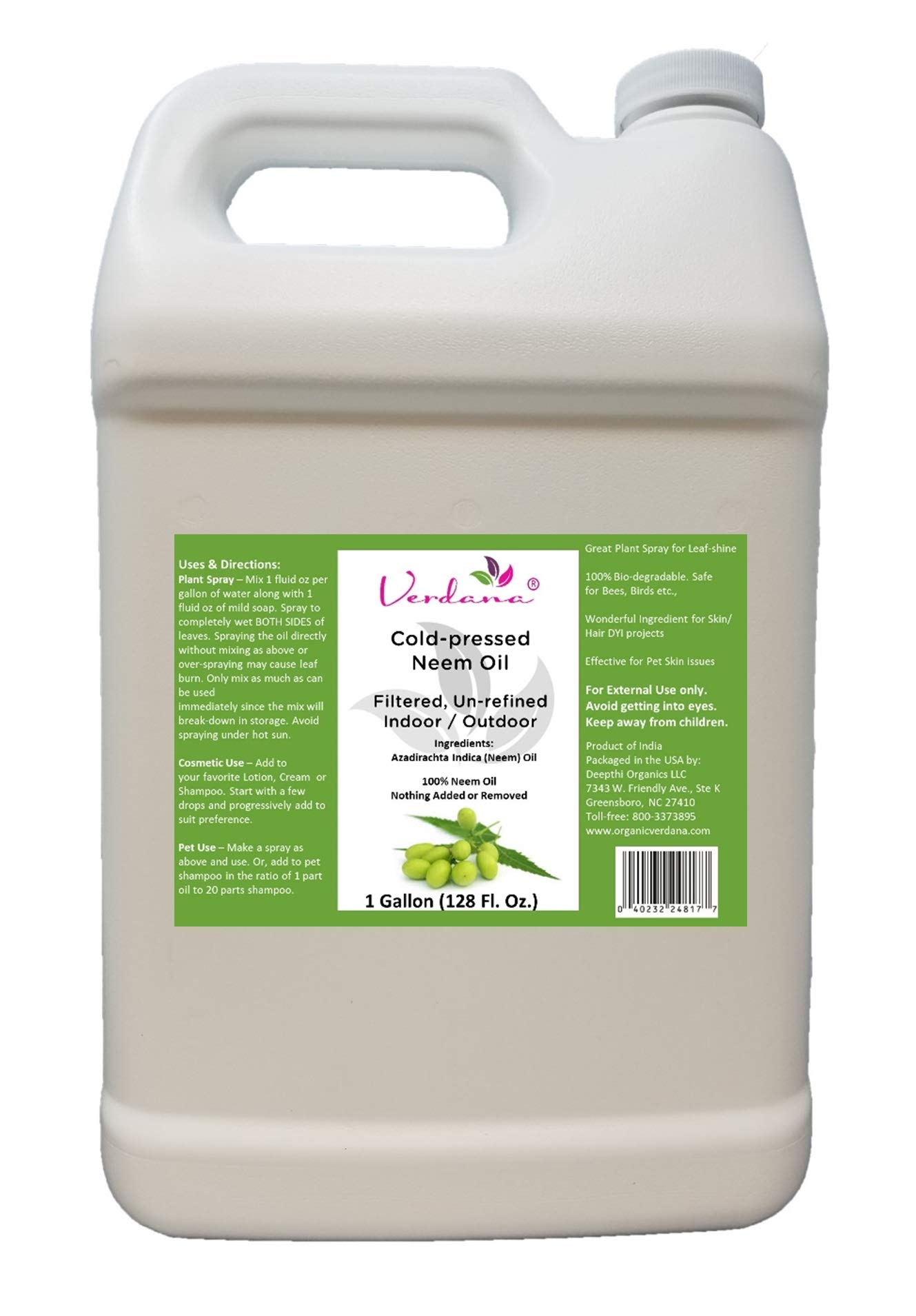 Verdana Cold Pressed Neem Oil - 1 Gallon - Unrefined, Filtered - High Azadirachtin Content -100% Neem Oil, Nothing Added or Removed - Indoor/Outdoor Laefshine, Pet Care, Skin Care, Hair Care by Verdana