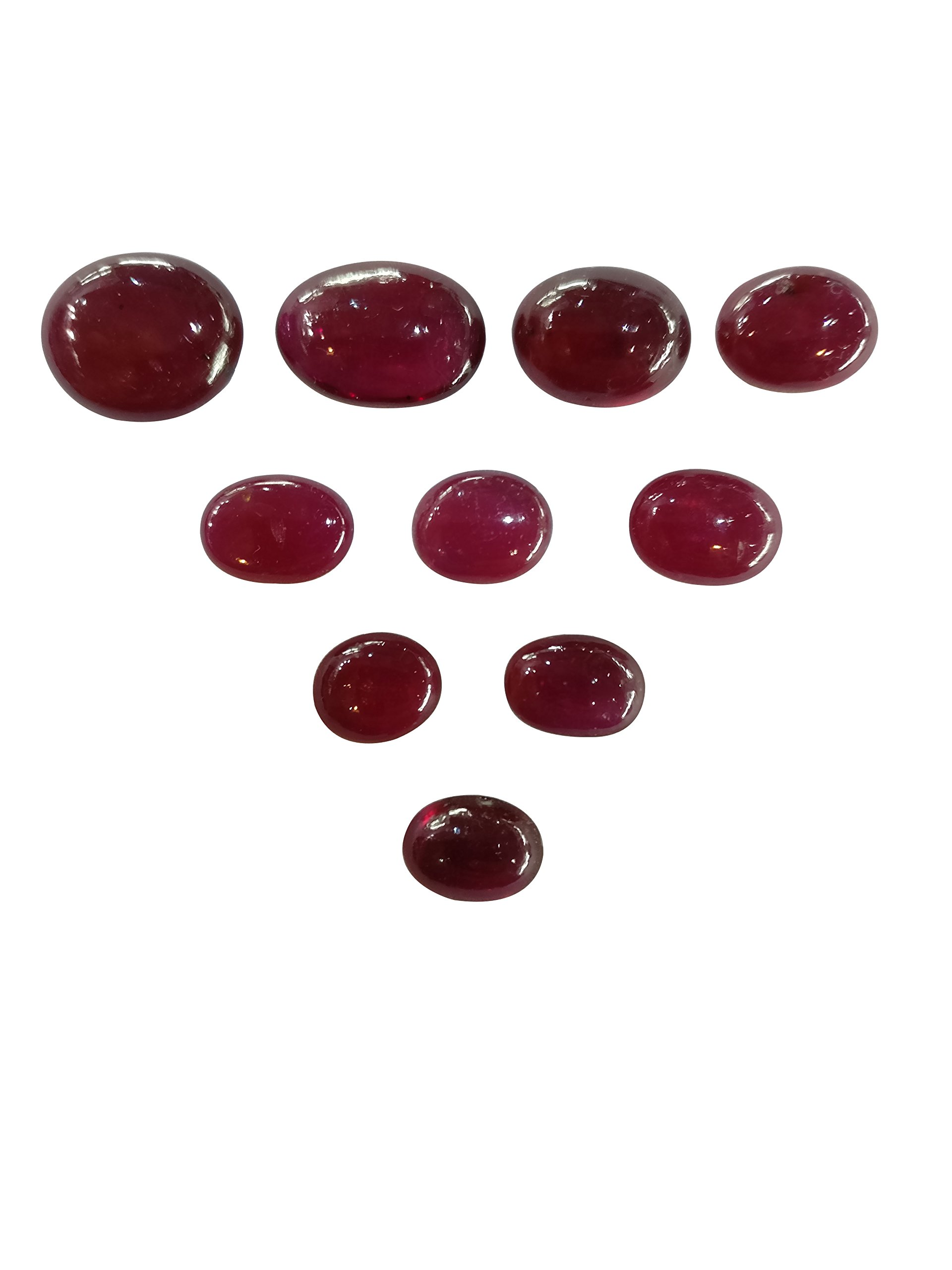 My DT Lifestyle Natural Ruby Glass Filled Gemstone Oval Shape Flat Cabs Loose Stone For Ring by My DT Lifestyle