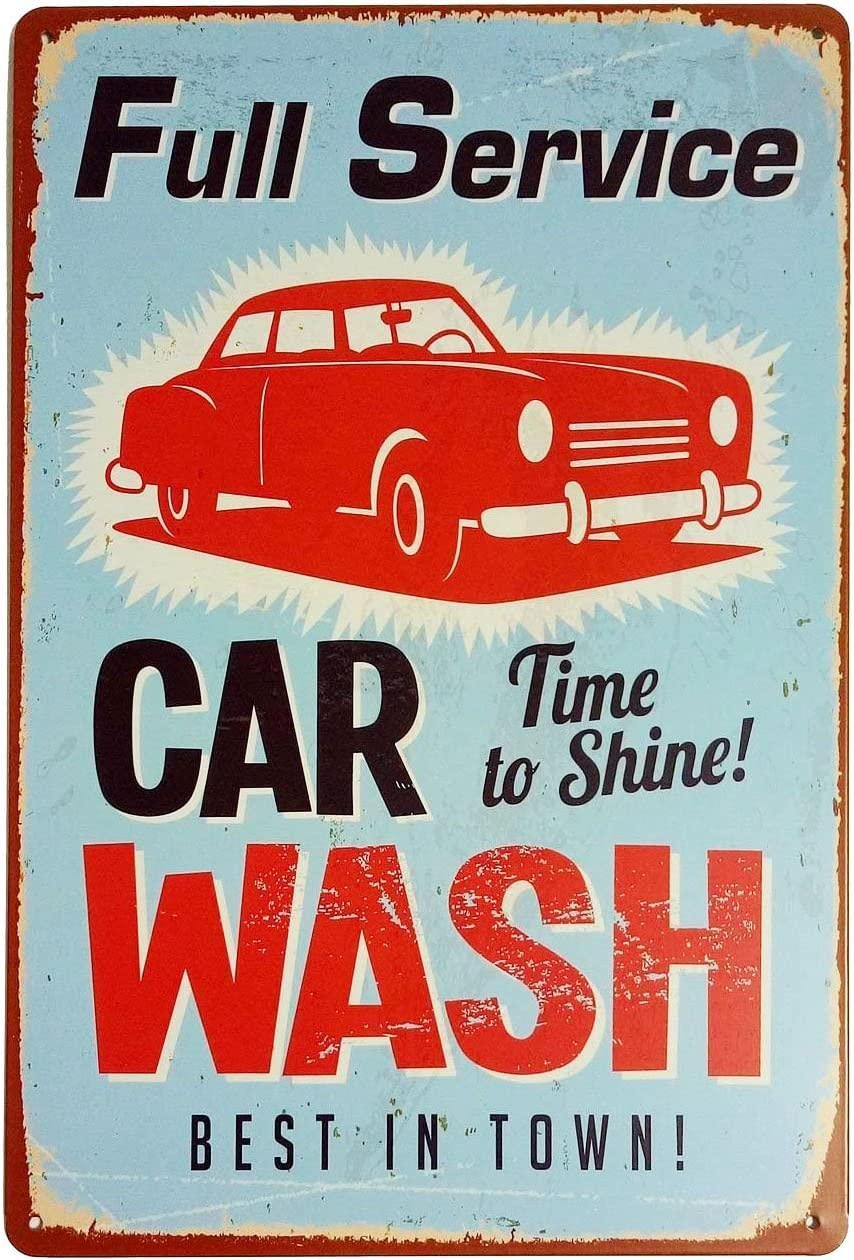 "ERLOOD Vintage Tin Sign for Wall Garage Retro Decor Metal Poster Plaque Full Service Car Wash Best in Town 8"" X 12"""