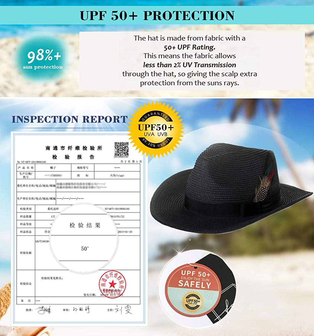 Jeff /& Aimy Mens Packable Western Outback Cowboy Cowgirl Ribbon Feather Straw Sun Summer Hat for Women