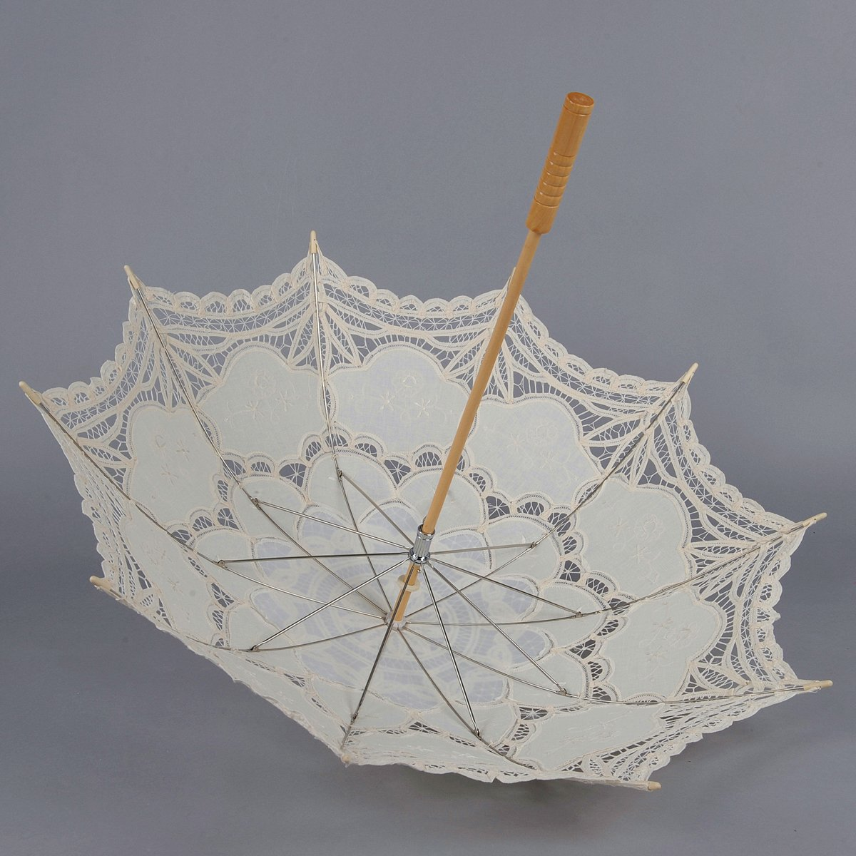 Artwedding Scallop Edge Embroidery Pure Cotton Lace Wedding Umbrella in Beige Onesize by Artwedding (Image #5)