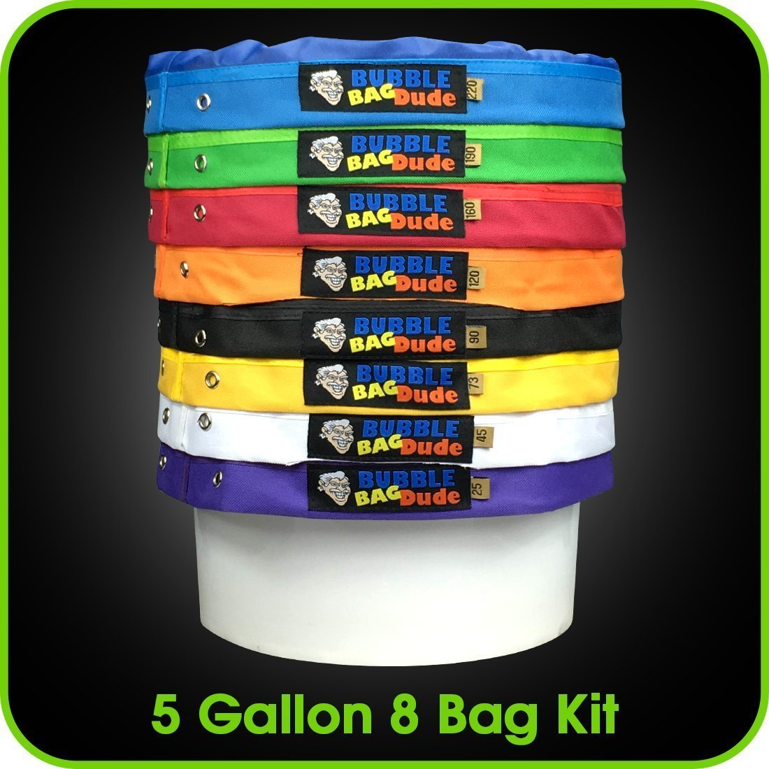 BUBBLEBAGDUDE Bubble Bags 5 Gallon 8 Bag Set - Herbal Ice Essence Extractor Bag Kit - Comes with Pressing Screen and Storage Bag David Wilson Inc.