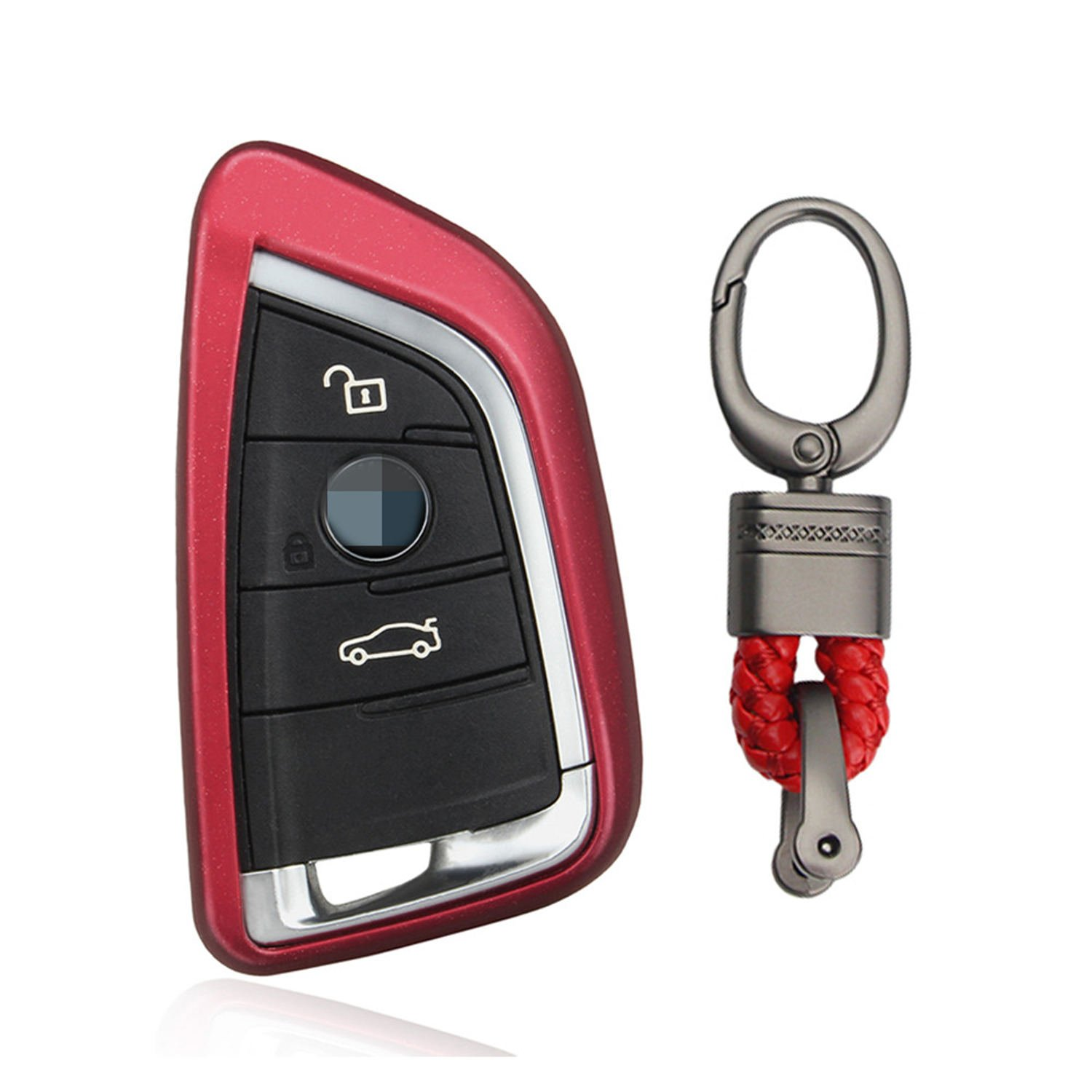 M.JVisun TPU Soft Silicone Case Cover Protector Shell For BMW Smart Key Fob, Car Remote Key Fob Case For BMW X1 X 5 X5M X6 X 6M BMW 2 Series BMW 7 Series Fob Remote Key With Keychain - Red