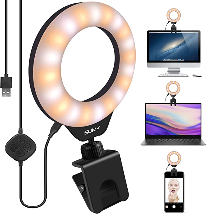 Video Conference Lighting Kit, Led Ring Light for Remote Working, Distance Learning,Zoom Call Lighting, Self Broadcasting and Live Streaming, Computer Laptop Makeup, YouTube, TikTok