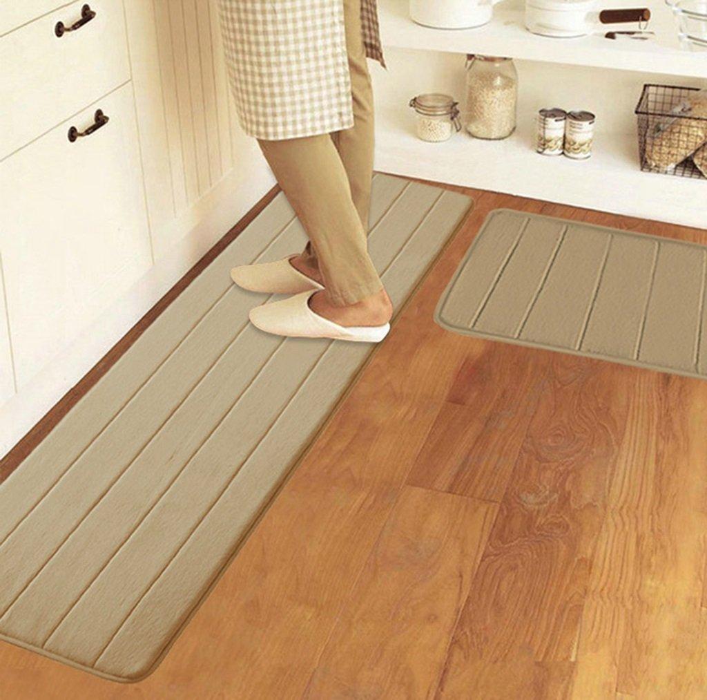 Striped coralvelvet kitchen absorbent slip-proof dry moldy odor-free easy care (1piece) (Color : Khaki, Size : 50cm200cm)