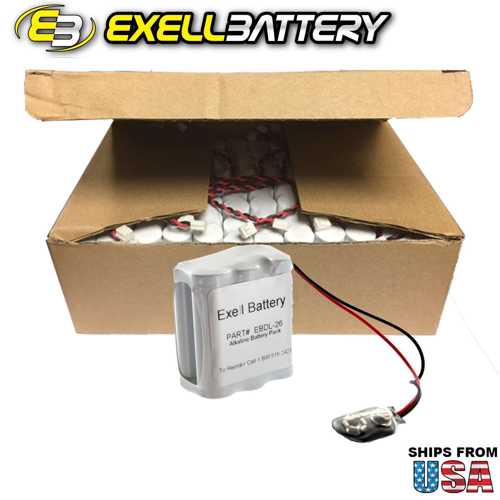120pcs Exell Battery Door Lock 9V 6-Cell Battery Pack Fits Vingcard 12 HTL-26 USA SHIP