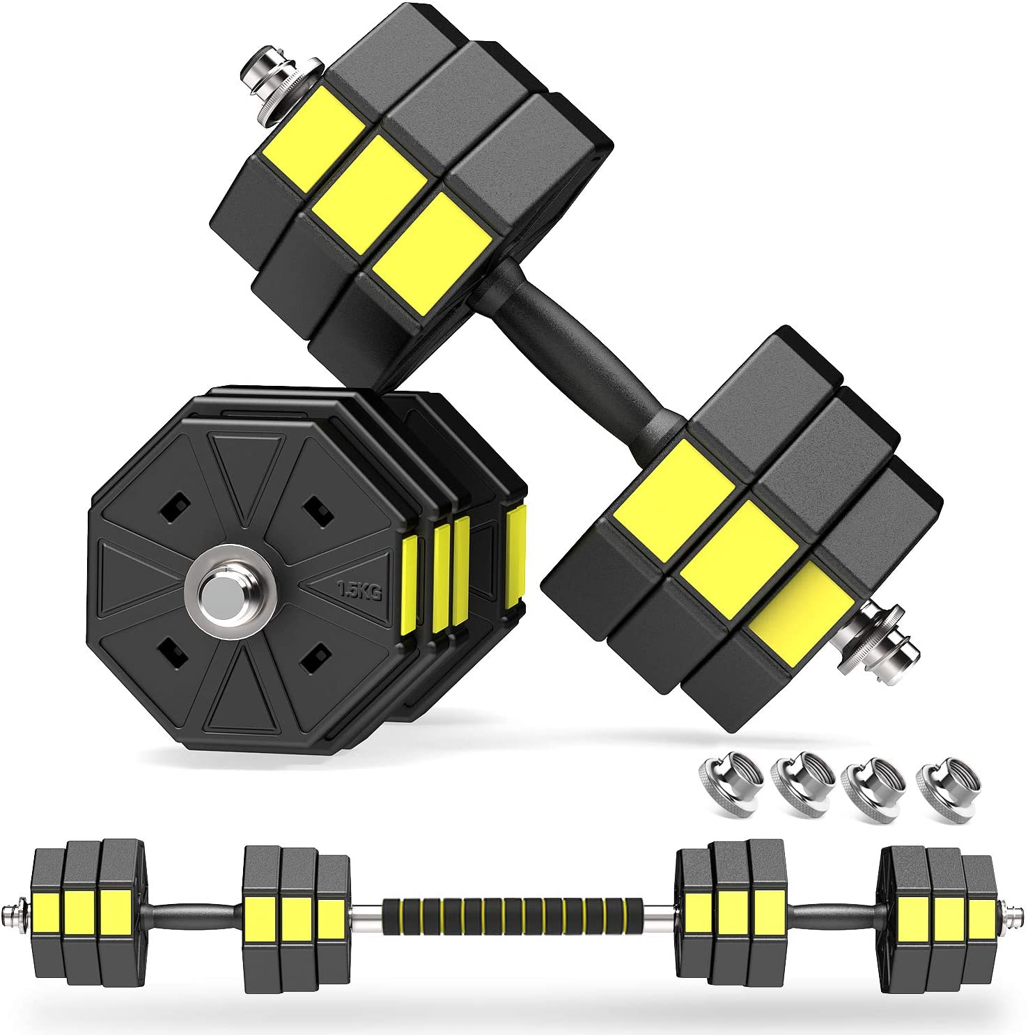 PANMAX Adjustable Dumbbells Barbell Set of 2, UP to 44/66 lbs Free Weight Set with Connector, 3 in 1 Dumbbell Barbells Set for Home Gym Fitness Exercises for Men/Women