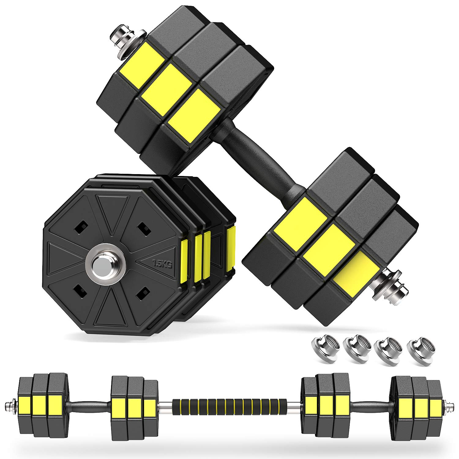PANMAX Adjustable Dumbbells Barbell Set of 2 UP to 44/66 lbs Free