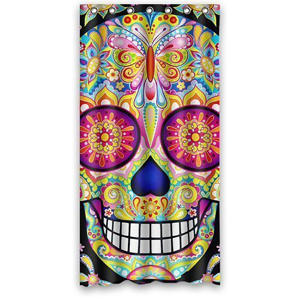Sea Secret Fashionable Bathroom Collection-Custom Sugar Skull Shower Curtain 36