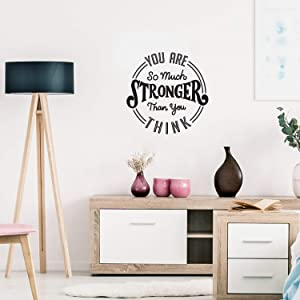 "Vinyl Wall Art Decal - You are So Much Stronger Than You Think - 22"" x 22"" - Modern Motivational Life Quotes for Home Bedroom Apartment Office Workplace Indoor Living Room Decor (22"" x 22"", Black)"