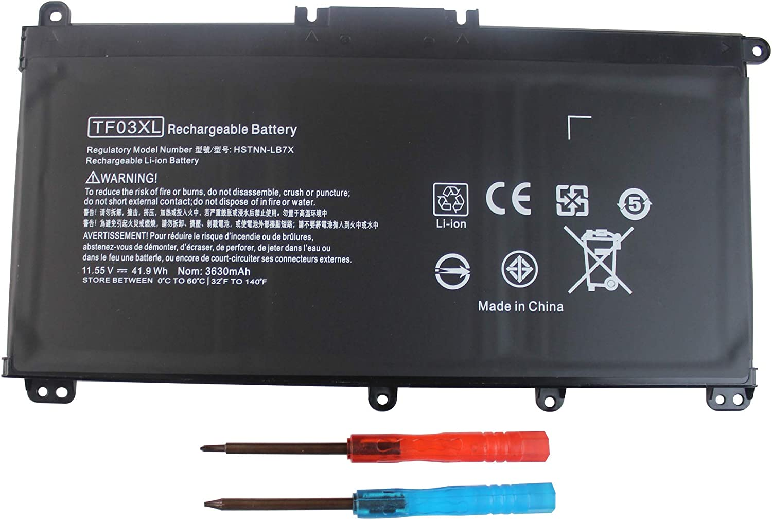 Angwel TF03XL Laptop Battery for HP Pavilion 15-CC 15-CD 17-AR Series, Fit for HP 920046-121 920046-421 HSTNN-IB7Y HSTNN-LB7J TPN-Q188 TPN-Q189 Series[11.55V 41.9WH] — 1 Year Warranty