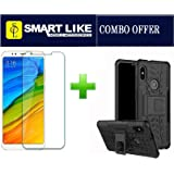 Smartlike Combo Of Tempered Glass + 1 Kick Stand Spider Hard Dual Bumper Dazzle Back Case Cover For Redmi Note 5 Pro