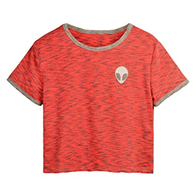 377968dd5a533 Imixcity Femmes Fille 3D Alien Embroidery T-Shirt Débardeur Haut Manches  Courtes Basic Tops