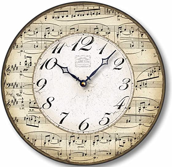 Fairy Freckles Studios Item C2302 Vintage Style 12 Inch Music Notes Clock