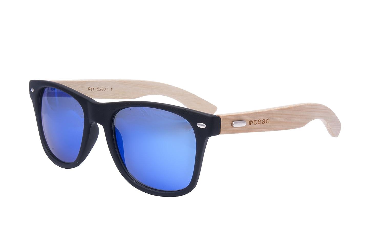 Ocean Sunglasses lihue - gafas de sol de Bambú - Montura : Bambú - Lentes : Azul Espejo (52001.1)