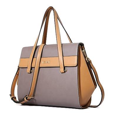 2732f0bdadf7 Kadell Women Leather Handbag Top Handle Shoulder Bag Tote Purse Crossbody  Satchel Grey