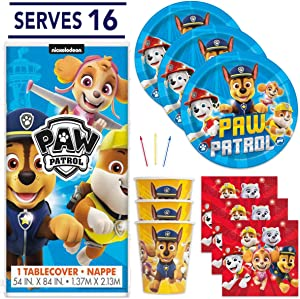 Paw Patrol Theme Birthday Party Set - Serves 16 - Tablecover, Plates, Napkins, Cups, Candles