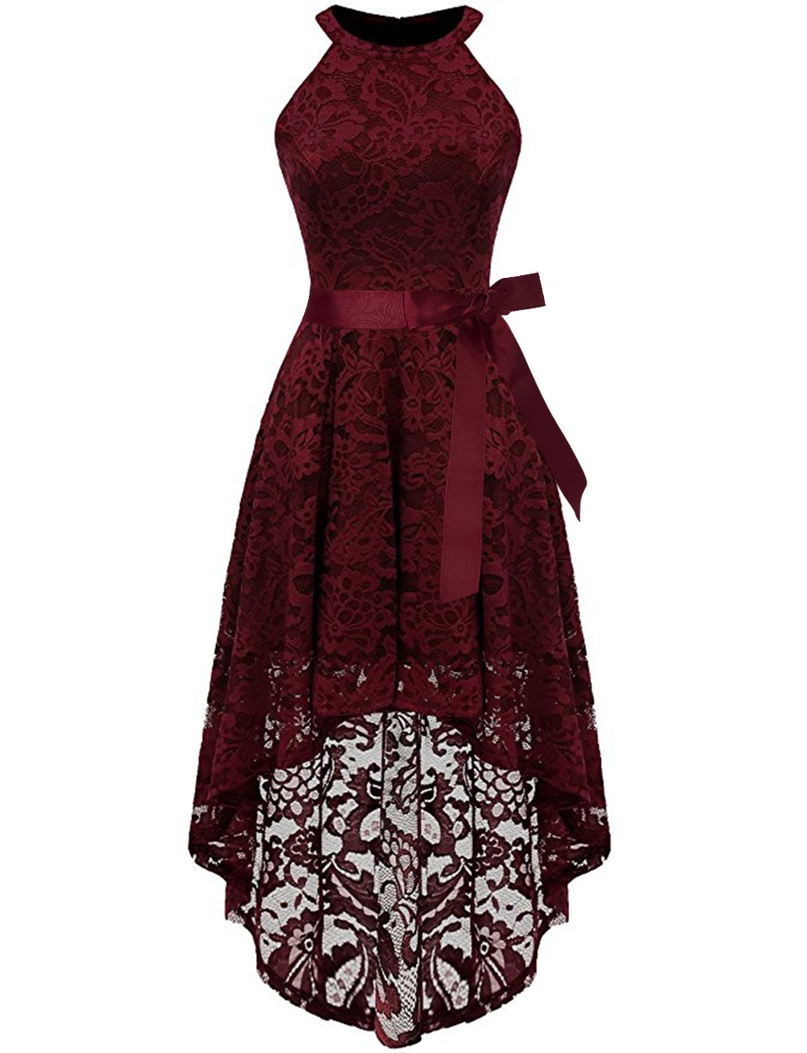 cheapest various colors timeless design Burgundy Cocktail Dresses for Women High Low Lace Halter Sleeveless Evening  Cocktail Wedding Party Bridesmaid Dresses M