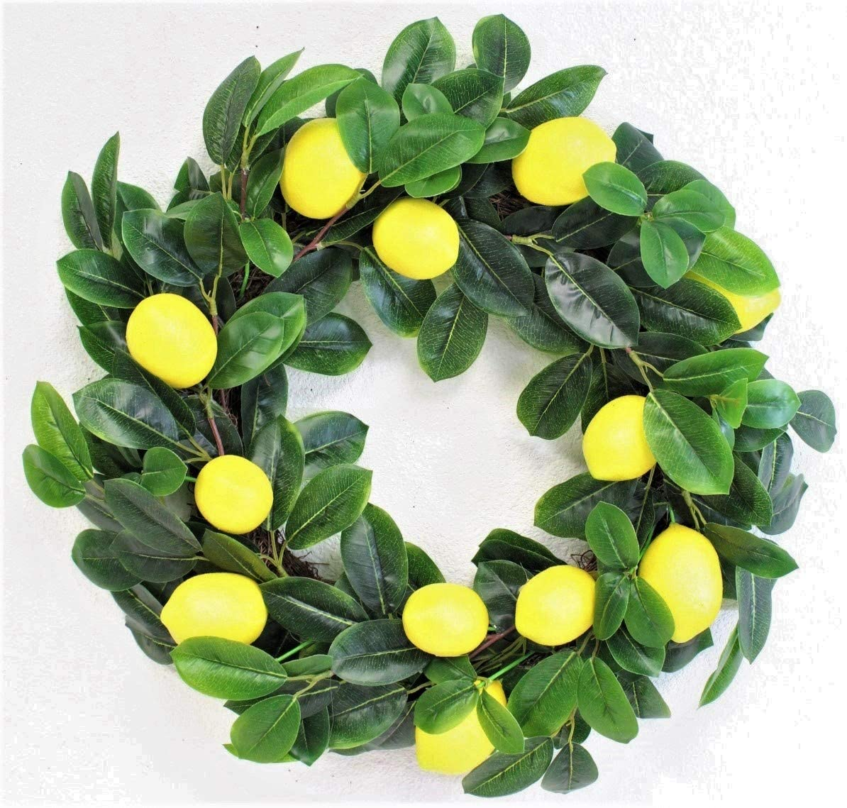 Artificial Spring Lemon with Lush Leaves Everyday Wreath 20 inches Spring Fruit for Front Door or Wall Farmhouse