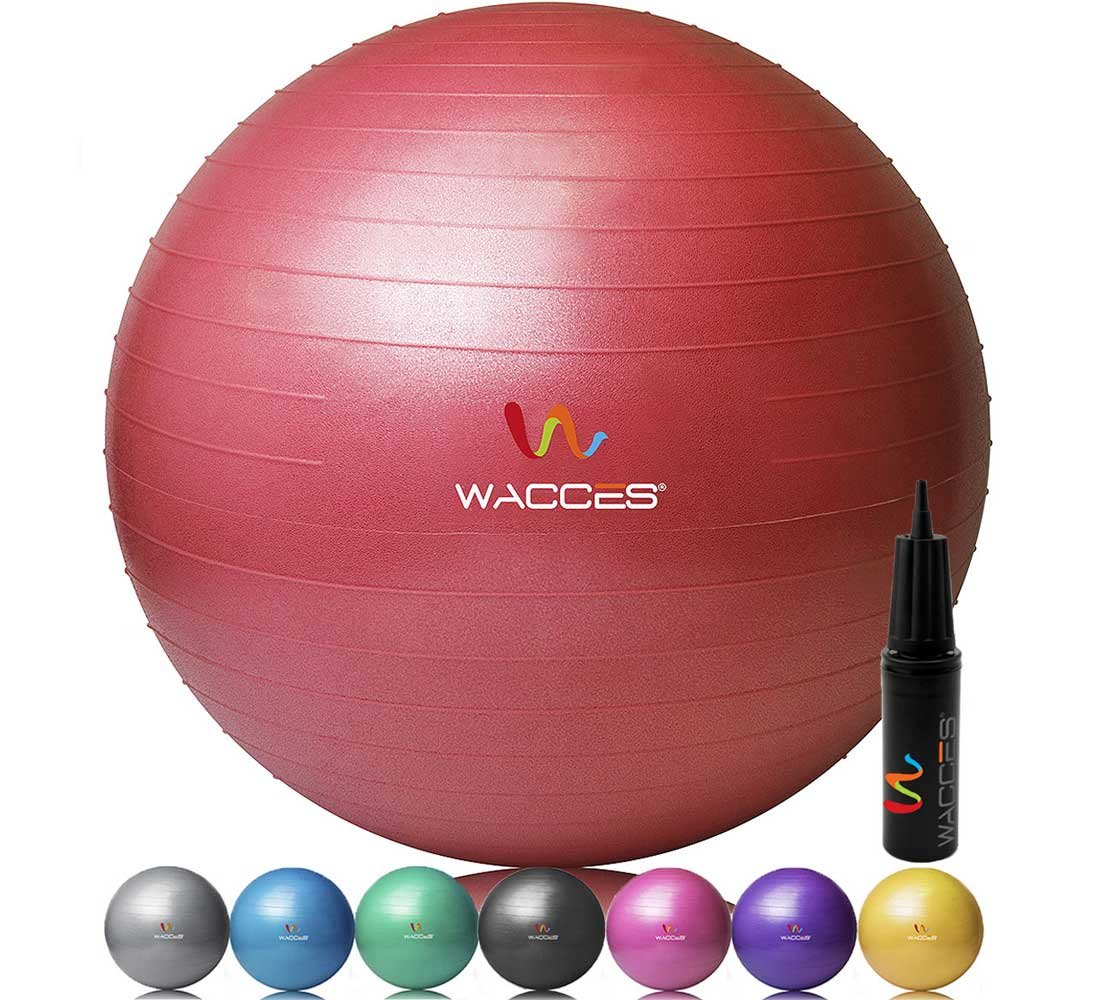 Wacces Professional Exercise, Stability and Yoga Ball for Fitness, Balance & Gym Workouts- Anti Burst - Quick Pump Included (Red, 55 cm)