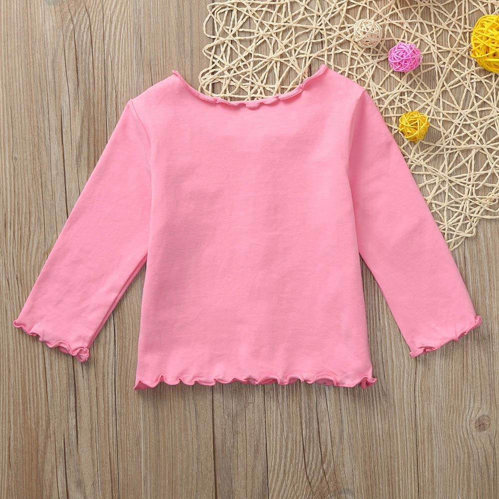 Zerototens Toddler Kids Baby Girls Long Sleeves Solid Color Cardigan Coat Wavy Edge Tops Spring Autumn Casual Jacket Cotton Blouse Tops 0-4 Years Old