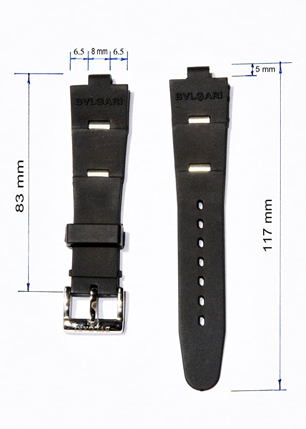 Rubber Watch Replacement Band Strap Fits Bvlgari Bulgari Aluminum, Diagono, Scuba Mens Watch | Amazon.com