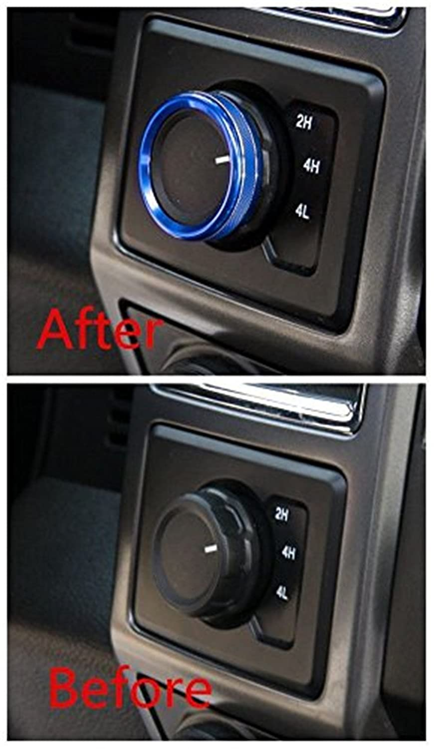 Bestmotoring Aluminum Car Four Wheel Drive Switch Button Bezel Cover Frame Trims for Ford F150 F 150 2016 Blue 1pc