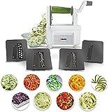 """Müeller - Spiralizzatore professionale per verdure """"Spiral Pro"""", a 4 lame, design nuovo; solo 4 lame per realizzare pasta vegetale rotonda e non semplici fettuccine alla julienne"""