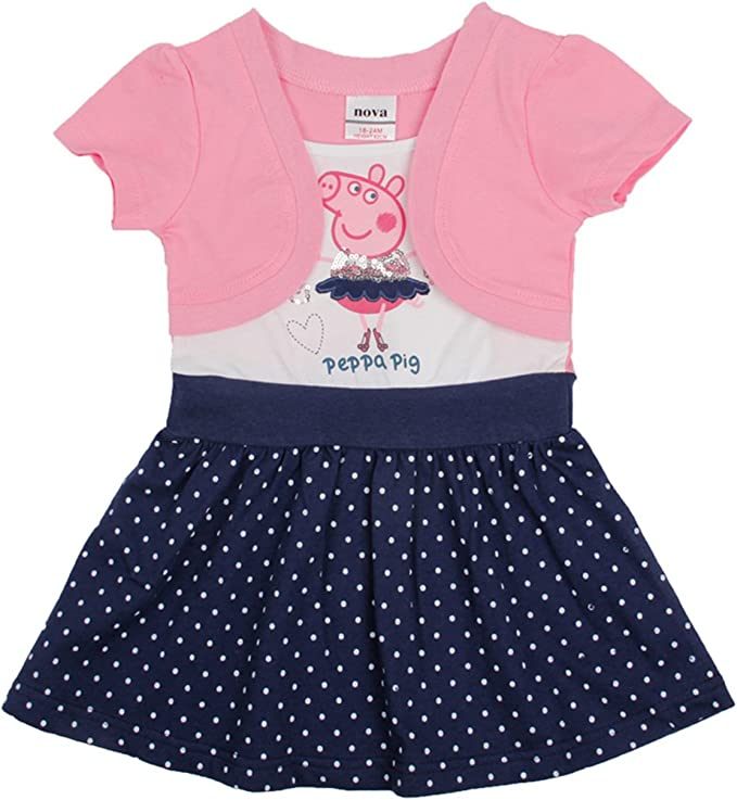 LALAMA Little Girls de color rosa Peppa Pig princesa disfraz ...