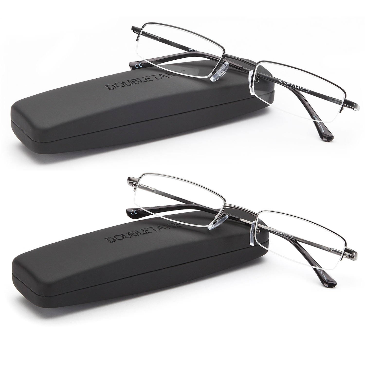 DOUBLETAKE Reading Glasses - 2 Pairs Compact Case Semi Rimless Readers - 1.50 by DOUBLETAKE