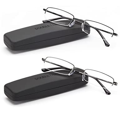 f943c9e7f81 Amazon.com  DOUBLETAKE 2 Pack Half Rim Reading Glass Readers w Hard ...
