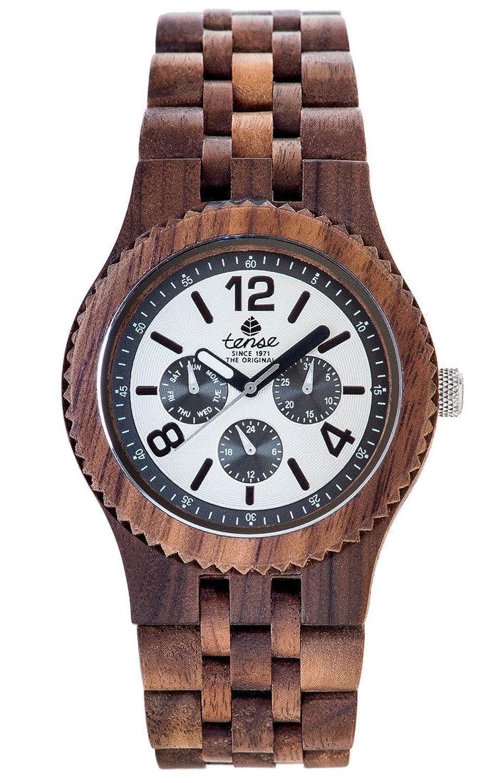 Gespannter Holz j5203 W-w Herren Armbanduhr Braun Holz Band weiß Zifferblatt