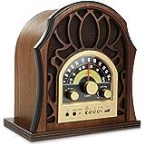 Pyle Retro AM/FM Bluetooth Radio 3.5MM Input Jack  with Full-Range Speaker, Walnut  Full-Range Stereo Speakers | Vintage Style Classic Design (PUNP37BT)