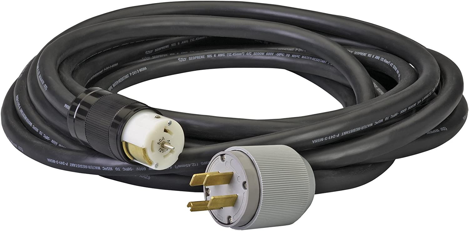Reliance Controls Corporation PC5020-14 50-Amp, 20-Foot Generator Power Cord for Generators Up to 12,500 Running Watts